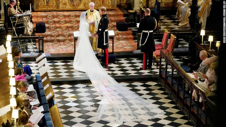 Harry and Meghan exchange vows.