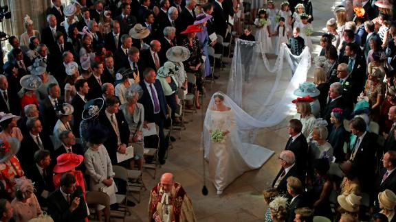 Meghan walks down the aisle in St. George's Chapel in Windsor on May 19 during her wedding to Prince Harry.
