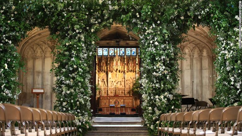 Flowers adorn the front of the organ loft inside St George's Chapel.