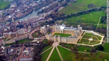 An aerial view of Windsor Castle in Berkshire which will host the wedding in May of Prince Harry and Meghan Markle. (Photo by Owen Humphreys/PA Images via Getty Images)