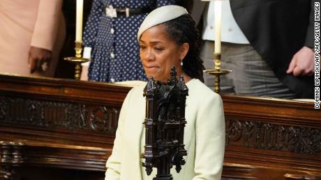 Meghan Markle's mother Doria Ragland takes her seat in St. George's Chapel for the wedding ceremony.