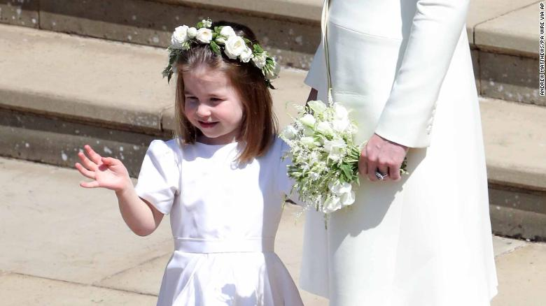 Princess Charlotte waves after the wedding of Prince Harry and Meghan Markle.