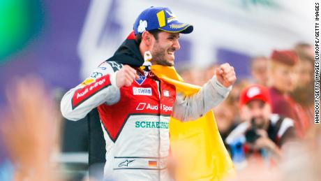 Daniel Abt celebrates his victory for Audi Sport in the Berlin ePrix.
