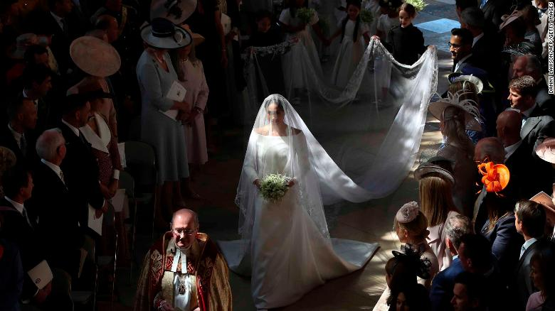 Meghan walks down the aisle in St George's Chapel.