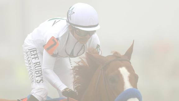 It was hard to see Justify as he raced around the track.