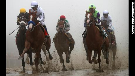 The 1 3/16-mile Pimlico Race Course was sloppy.