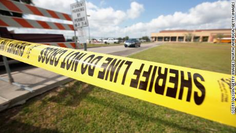 SANTA FE, TX - MAY 19: Crime scene tape surrounds Santa Fe High School on May 19, 2018 in Santa Fe, Texas. Yesterday morning, 17-year-old student Dimitrios Pagourtzis entered the school with a shotgun and a pistol and opened fire, killing 10 people.  (Photo by Scott Olson/Getty Images)