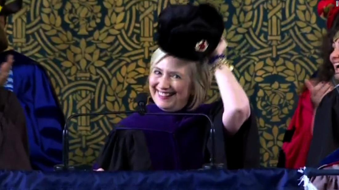 4945c67dceed5 Hillary Clinton trolls Trump with Russian hat - CNN Video