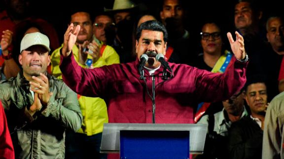 Venezuelan President Nicolas Maduro addresses supporters after election results on May 20, 2018 in Caracas.