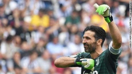 Buffon greeted Juventus fans one last time Saturday, 17 years after joining the club from Parma for a world record $43.7 million.