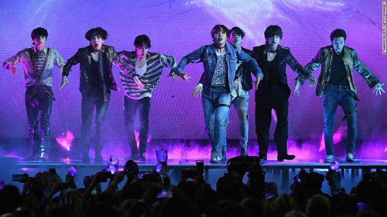 Korean Boy Band Bts Performs Onstage During The  Billboard Music Awards At Mgm Grand Garden