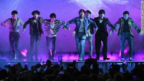 LAS VEGAS, NV - MAY 20:  Musical group BTS perfroms onstage during the 2018 Billboard Music Awards at MGM Grand Garden Arena on May 20, 2018 in Las Vegas, Nevada.  (Photo by Ethan Miller/Getty Images)