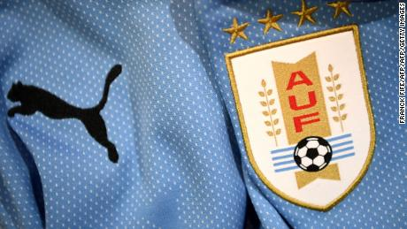 A picture taken on April 25, 2018 in Paris, shows the jersey of the Uruguay national football team for the FIFA 2018 World Cup football tournament. (Photo by FRANCK FIFE / AFP)        (Photo credit should read FRANCK FIFE/AFP/Getty Images)