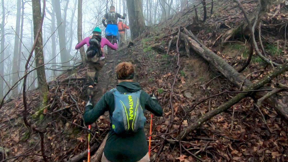 The Barkley Marathons consists of five loops, 20 miles each, along unmarked trails in rural Tennessee, with about 67,000 feet of elevation.