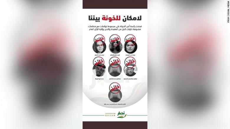 A flyer circulating on social media in Saudi Arabia shows activists, including Hathloul, with a traitor stamp over each of their faces.