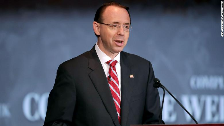 "WASHINGTON, DC - MAY 21:  U.S. Deputy Attorney General Rod Rosenstein delivers remarks on ""Justice Department Views on Corporate Accountability"" during the The Annual Conference for Compliance and Risk Professionals at the Mayflower Hotel May 21, 2018 in Washington, DC. (Chip Somodevilla/Getty Images)"