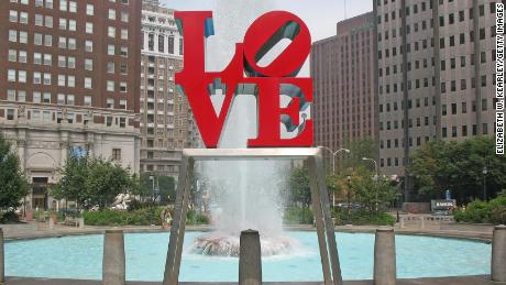 "Robert Indiana's ""Love"" sculpture in downtown Philadelphia."