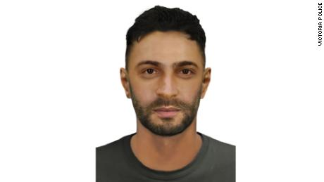A composite image of a man Victoria Police want to speak to relating to a grenade attack in Melbourne.