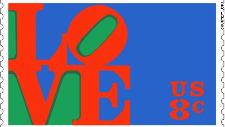 "Robert Indiana's ""Love"" postage stamp, issued in 1973."