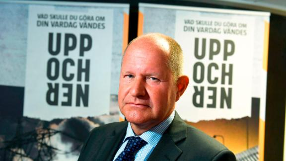 """Dan Eliasson, head of the Swedish Civil Contingencies Agency, is pictured during a press conference on the new brochure """"If Crisis or War Comes"""", in Stockholm, on May 21, 2018."""