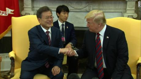President Trump and President Moon participate in a working lunch/TAPE SPRAY