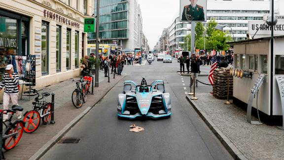 Rosberg took the car around the streets of Berlin -- from the Brandenburg Gate to Checkpoint Charlie -- and even put it through its paces at Tempelhof Airport circuit.