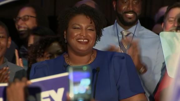 Stacey Abrams takes the stage after it is projected that she will be the Democratic nominee for Georgia governer.