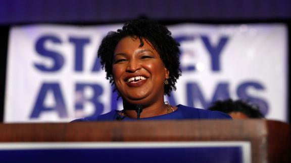 Democratic candidate for Georgia Governor Stacey Abrams speaks during an election-night watch party Tuesday, May 22, 2018, in Atlanta. (AP Photo/John Bazemore)