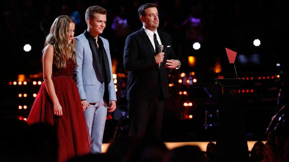 "THE VOICE -- ""Live Finale"" Episode 1419B -- Pictured: (l-r) Brynn Cartelli, Britton Buchanan, Carson Daly -- (Photo by: Trae Patton/NBC)"