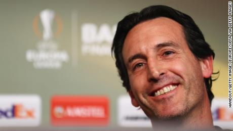 BASEL, SWITZERLAND - MAY 17:  In this handout image provided by UEFA, Unai Emery, coach of Sevilla talks during a Sevilla press conference on the eve of the UEFA Europa League Final against Liverpool at St. Jakob-Park on May 17, 2016 in Basel, Switzerland.  (Photo by Handout/UEFA via Getty Images)
