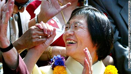 Japanese climber Junko Tabei during a 2003 procession celebrating the 50th anniversary of the ascent of the world's highest mountain.