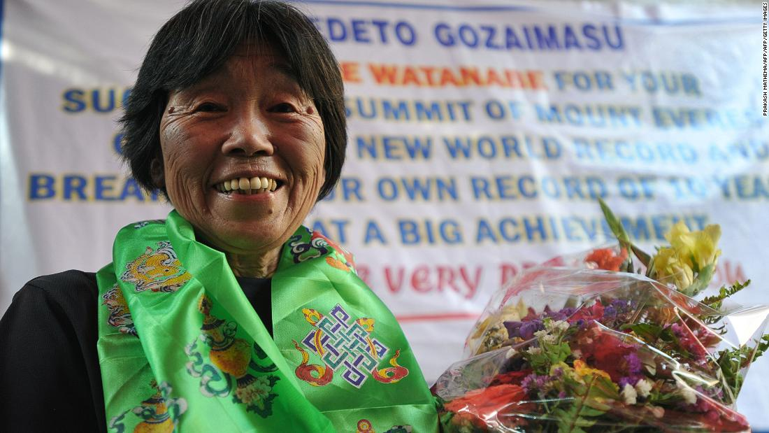 "Japanese mountaineer Tamae Watanabe became the oldest woman to conquer Mount Everest at age 73 in May 2012, <a href=""https://edition.cnn.com/2012/05/19/world/asia/nepal-everest-cimb/index.html""> breaking her own 10-year record</a>."
