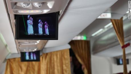 The in-flight entertainment on board a chartered Air Koryo flight the journalists took to Wonsan, North Korea.