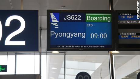 "A departure screen shows ""Pyongyang"" as the journalists' destination, but they ended up flying to Wonsan."