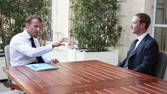 Macron meets with Facebook's Mark Zuckerberg at the Élysée  Palace on May 23.