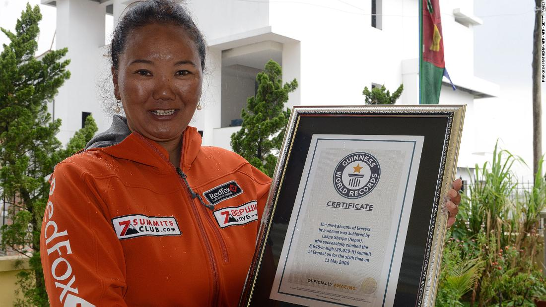 "Nepalese climber Lhakpa Sherpa broke her own <a href=""https://thehimalayantimes.com/nepal/lhakpa-sherpa-scales-mt-everest-nine-times-breaking-own-record/"" target=""_blank"">world record</a> for most successful climbs of Everest for a woman, after conquering the mountain for the ninth time in 2018."