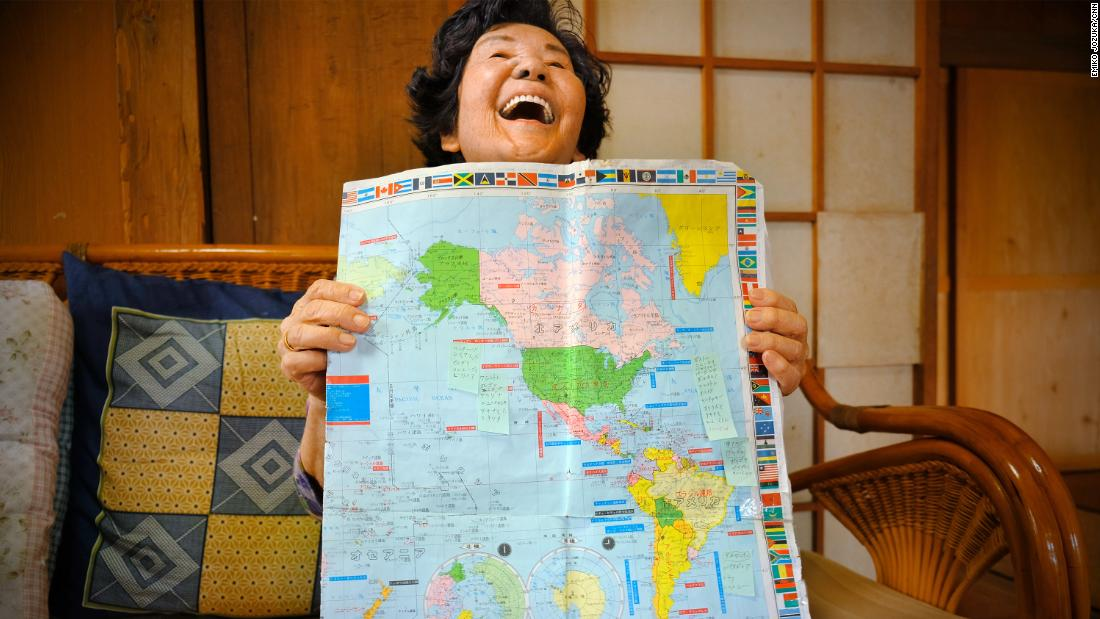 Natsuko Maenaka, 84, wants to stay mentally healthy. She likes to find new countries on the map and remember where they are.