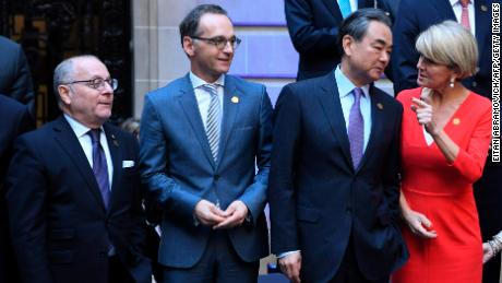 (L to T)  Ministers of Foreign Affairs from Argentina Jorge Faurie, Germany Heiko Maas, China Wang Yi and Australia Julie Bishop pose for a family photo at the Palacio San Martin during the G20 foreign ministers' meeting on May 21 , 2018 in Buenos Aires. - With consensus on sensitive issues such as Iran, Syria or the Palestinians appearing elusive, G20 foreign ministers will focus on the fight against terrorism and climate change during their meeting in Buenos Aires. (Photo by EITAN ABRAMOVICH / AFP)        (Photo credit should read EITAN ABRAMOVICH/AFP/Getty Images)