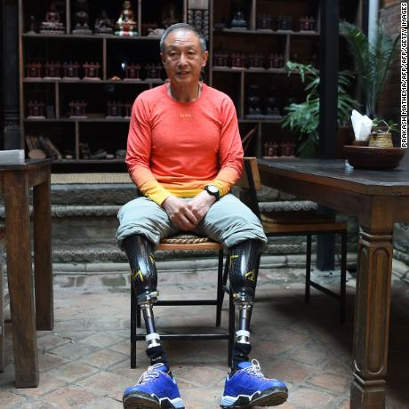 This photograph taken on April 4, 2018 shows Chinese double amputee climber Xia Boyu, who lost both of his legs during first attempt to climb Everest, during an interview with AFP at Bhaktapur on the outskirts of Kathmandu, ahead of another attempt to climb the mountain. The Chinese climber who lost both his legs to frostbite on Everest four decades ago is hoping to finally reach the summit of the world's highest peak, after Nepal's top court overruled a government ban on double amputees climbing its mountains. / AFP PHOTO / PRAKASH MATHEMA / TO GO WITH Nepal-China-mountaineering-disabled,FOCUS by Paavan MATHEMA        (Photo credit should read PRAKASH MATHEMA/AFP/Getty Images)