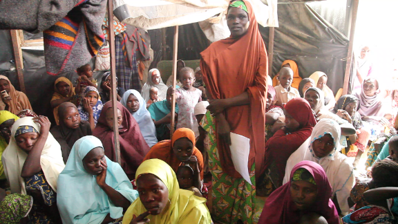 Displaced women from Bama in Nigeria's Borno State who formed a group to campaign for justice. Image taken in an IDP camp in Maiduguri, on 22 February 2018. They made a list with 1300 names of their husbands and sons in detention; almost 800 names of those who died in Bama Hospital camp was due to starvation.