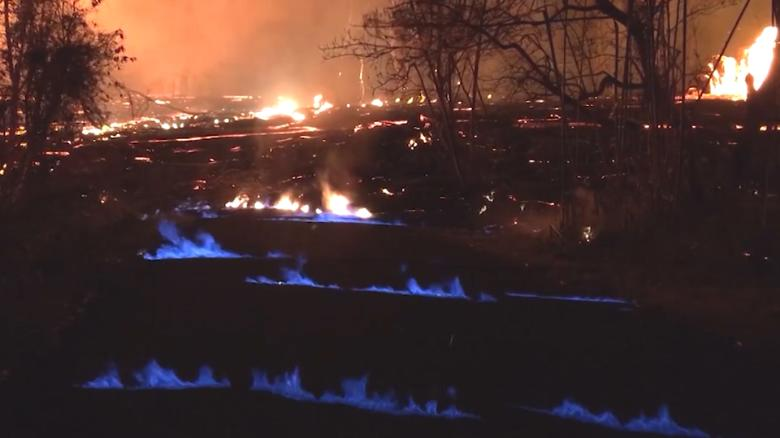 Blue flames burn during Kilauea eruption