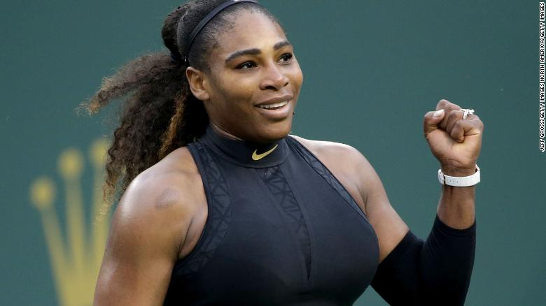 INDIAN WELLS, CA - MARCH 10:  Serena Williams celebrates her victory over Kiki Bertens of the Netherlands during the BNP Paribas Open on March 10, 2018 at the Indian Wells Tennis Garden in Indian Wells, California.  (Photo by Jeff Gross/Getty Images)