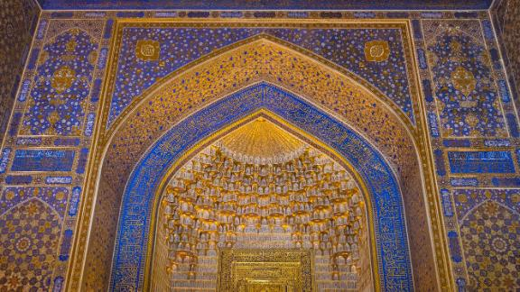 Samarkand, Uzbekistan: The three medressas in Registan plaza in northeast Uzbekistan were built between the 15th and 17th centuries and are among the world