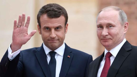 Emmanuel Macron meets Russian President Vladimir Putin in 2017, after becoming president.