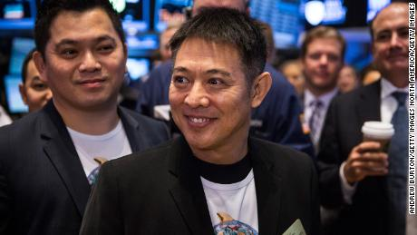 NEW YORK, NY - SEPTEMBER 19:  Actor Jet Li attends Alibaba Group's initial price offering (IPO) at the New York Stock Exchange on September 19, 2014 in New York City. The New York Times reported yesterday that Alibaba had raised $21.8 Billion in their initial public offering so far.  (Photo by Andrew Burton/Getty Images)