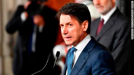 Giuseppe Conte addresses journalists after a meeting with President Sergio Mattarella on May 23.