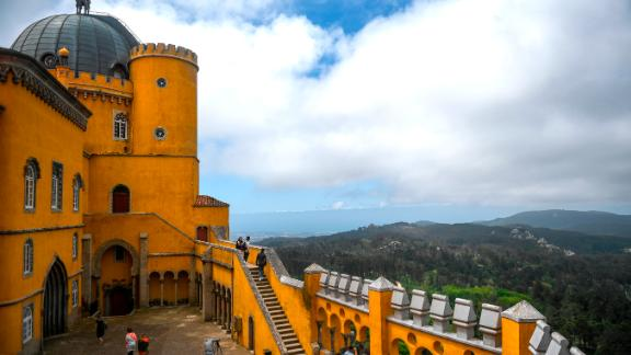 Sintra, Portugal: The gaily painted Pena Palace sits high in the Sintra Mountains and is one of several colorful 19th-century monuments in the town of Sintra, around 30 kilometers from Lisbon.