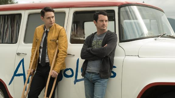 """Dirk Gently's Holistic Detective Agency"" Season 2: Holistic detective Dirk Gently (Samuel Barnett) and his reluctant sidekick Todd Brotzman (Elijah Wood) star as the central characters in this sci-fi detective series. (Hulu)"