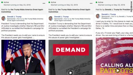 Ads run from the Donald J. Trump Facebook page as seen in the new Facebook political ad tracker