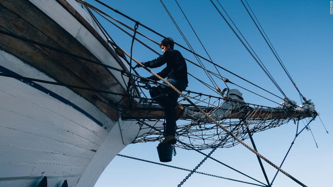Soerensen, along with his crew members, works tirelessly around the clock to maintain the vessel -- from painting, rigging the ship, adjusting sails and ropes, to fixing wood.